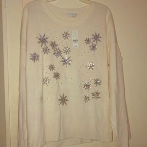NWT NY&C Sequins Snowflake Sweater